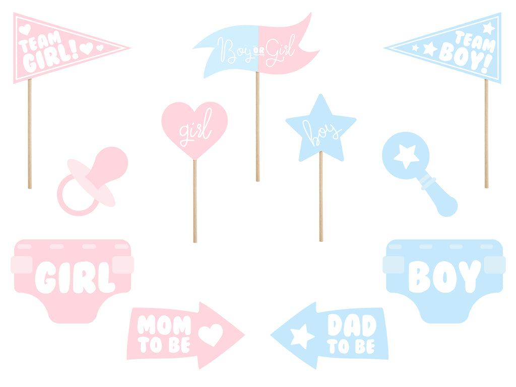 Gender Reveal Photo Booth Props - Uk Baby Shower Co ltd