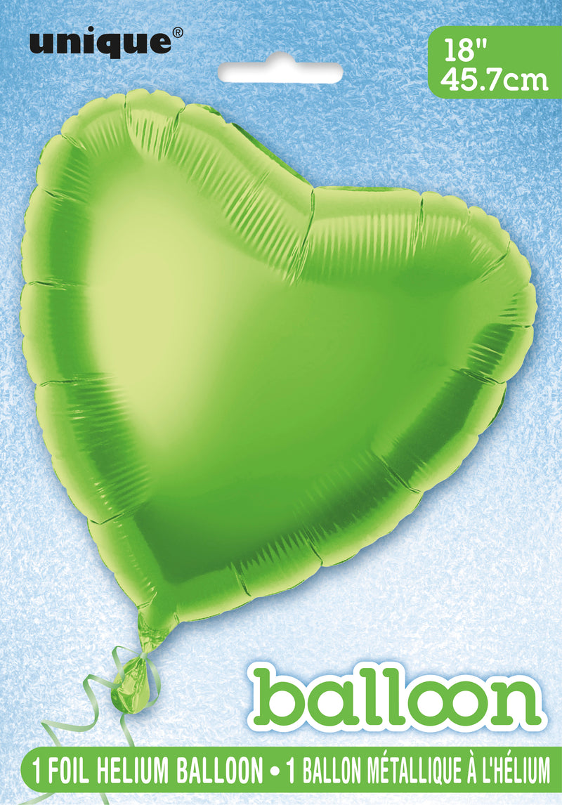 Lime Green Heart-Shaped Foil Balloon INFLATED