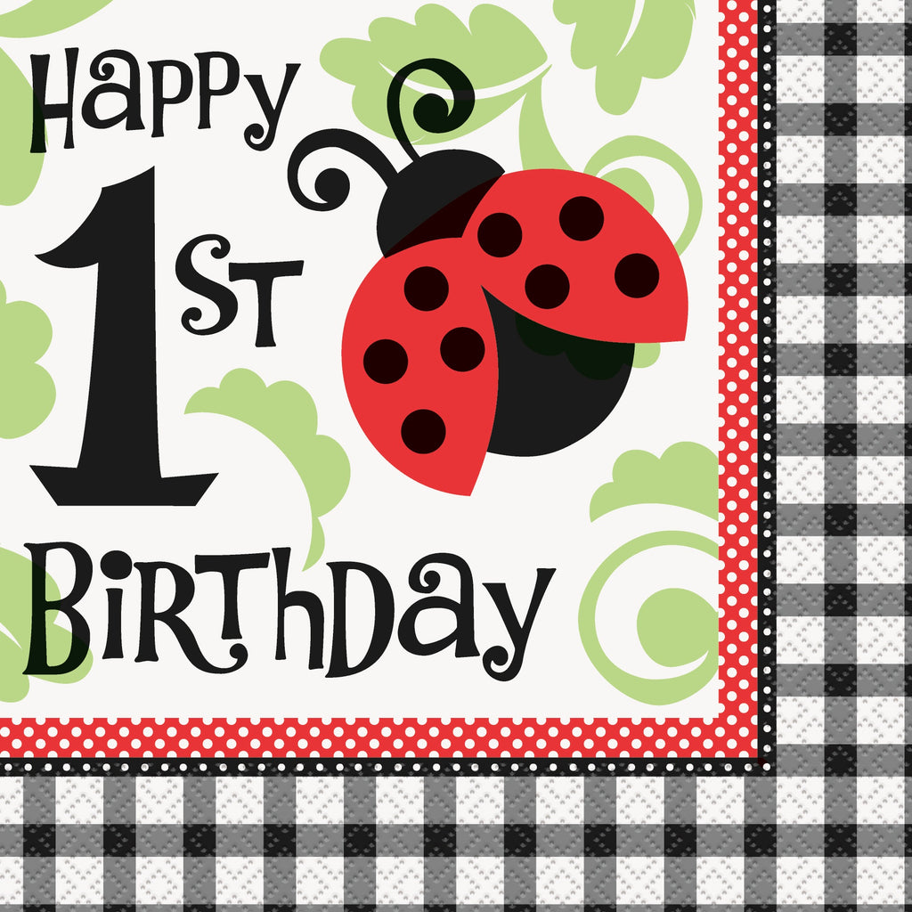Lively Ladybug 1st Birthday Napkins - Uk Baby Shower Co ltd