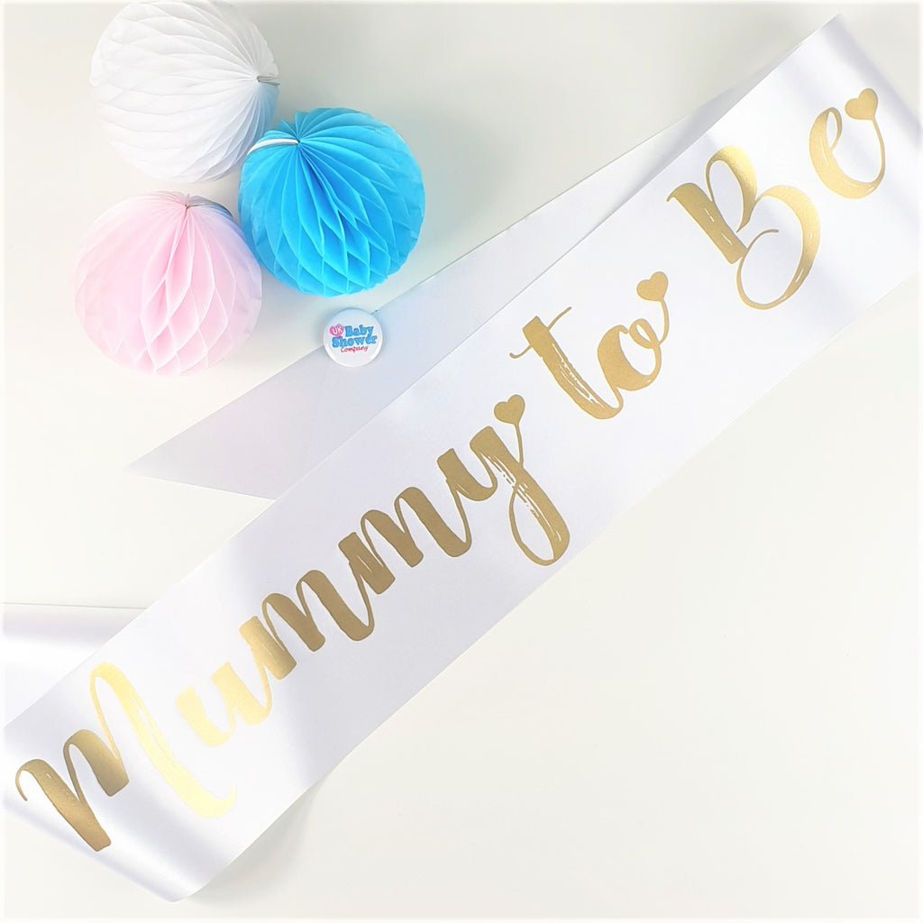 Mummy to Be Sash - White - Uk Baby Shower Co ltd