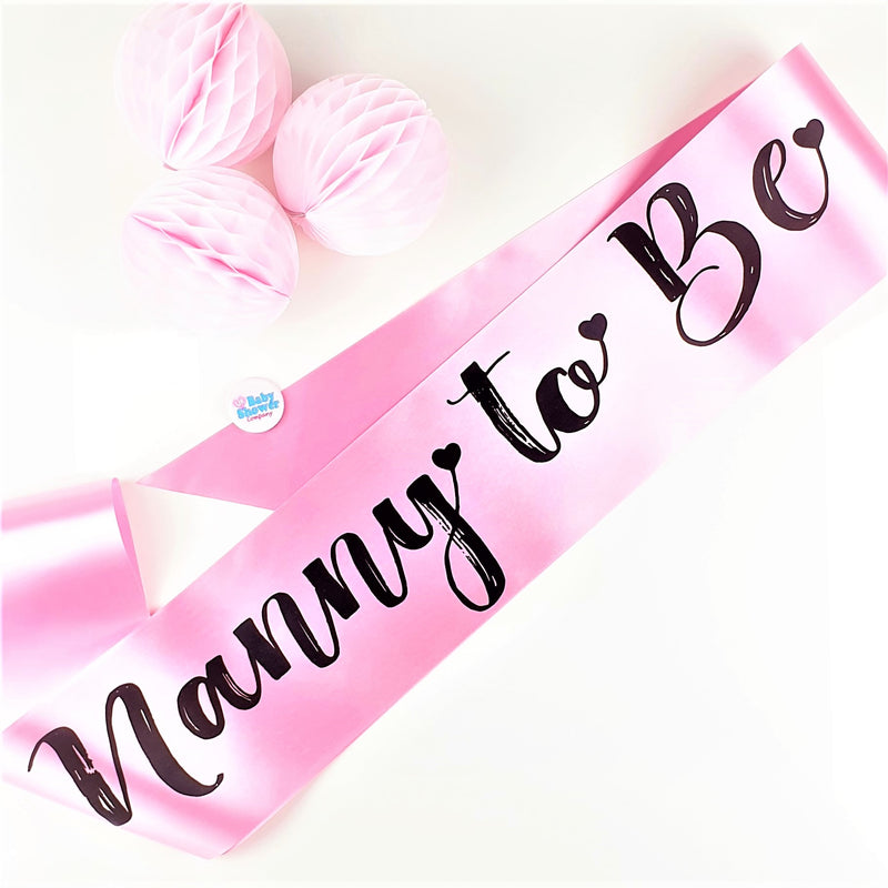 Nanny to Be Sash - Pink - Uk Baby Shower Co ltd