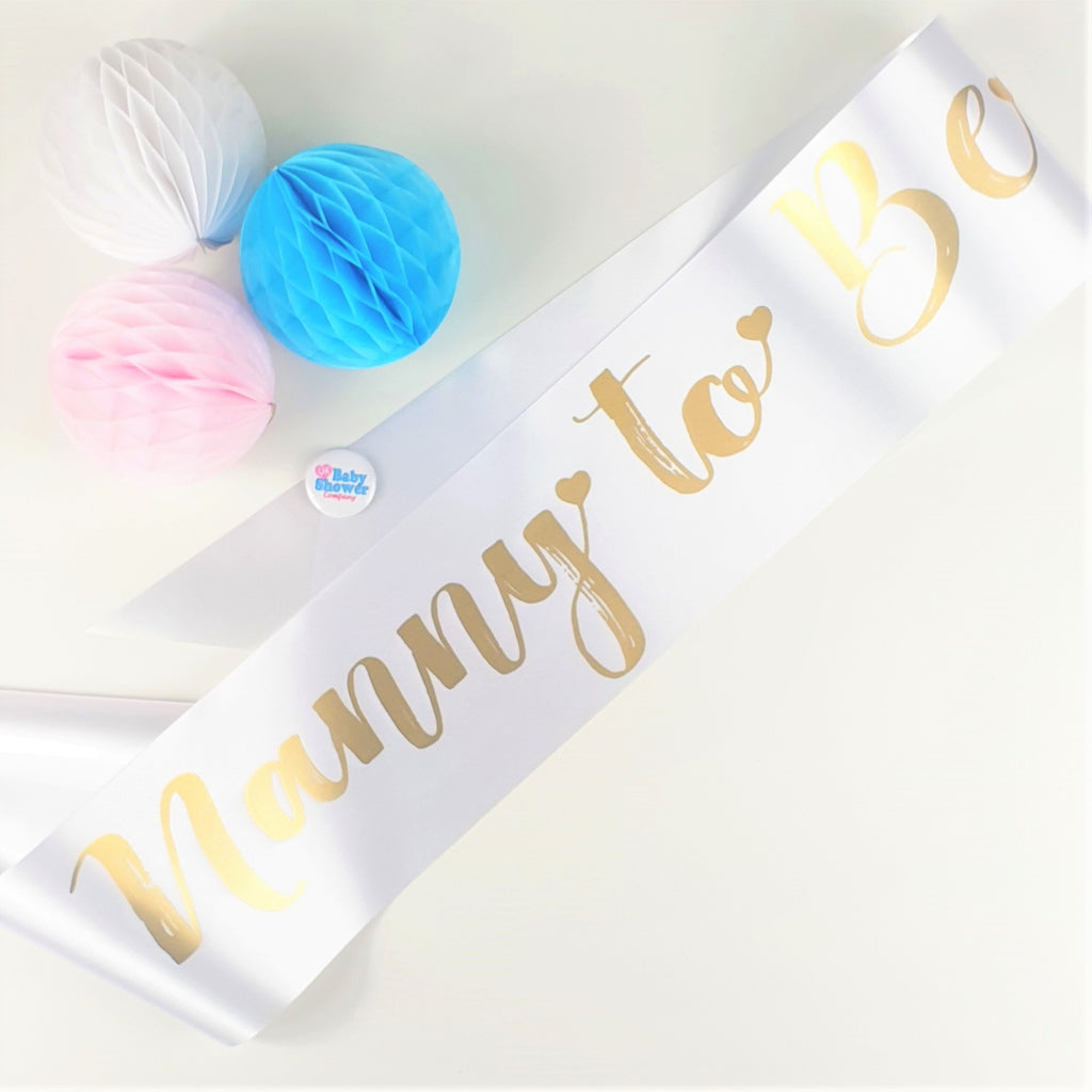 Nanny to Be Sash - White - Uk Baby Shower Co ltd
