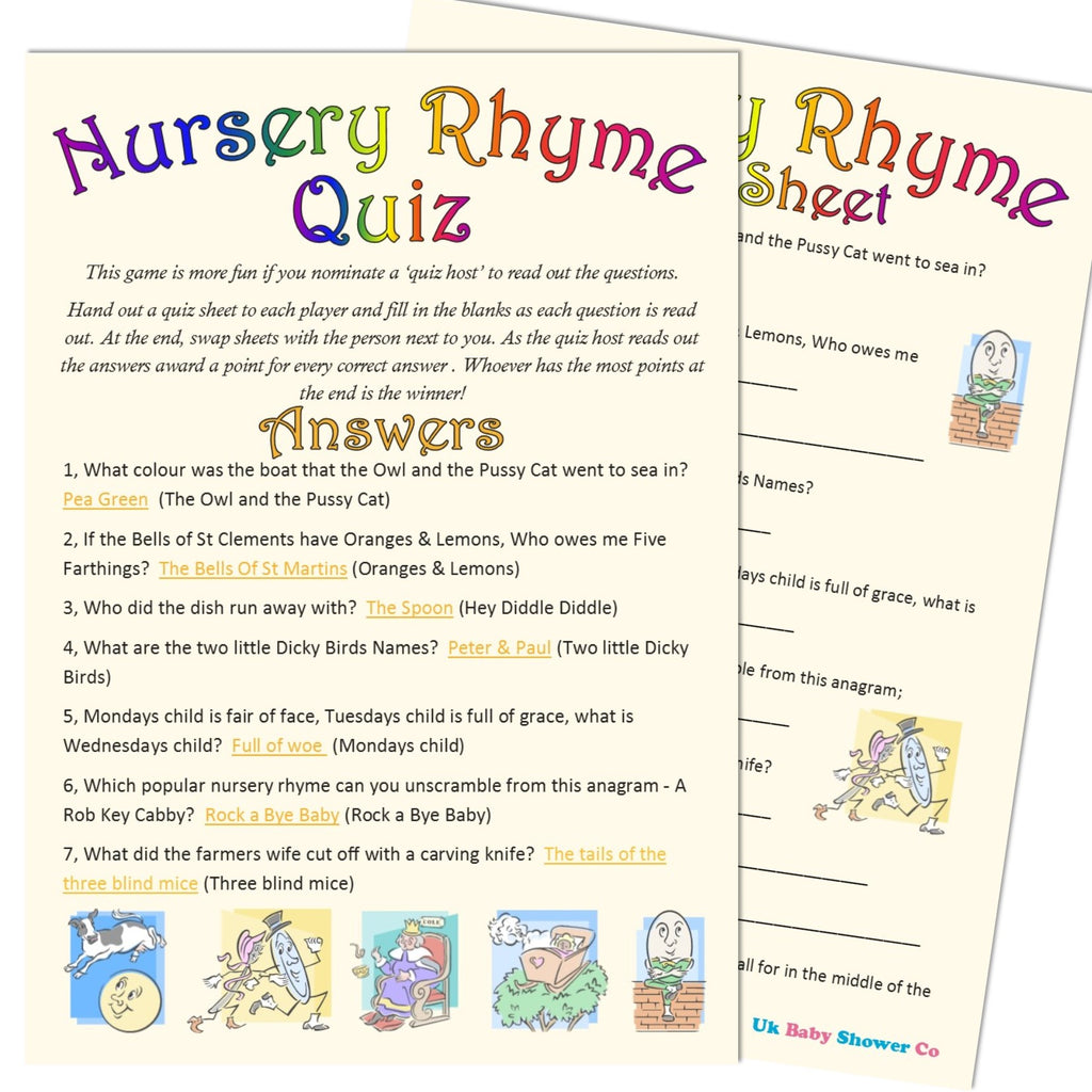 Nursery Rhyme Quiz Game - CLEARANCE - Uk Baby Shower Co ltd