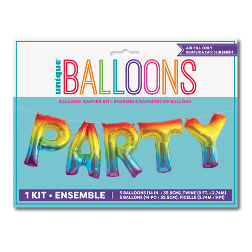 Rainbow PARTY Phrase Balloon Banner