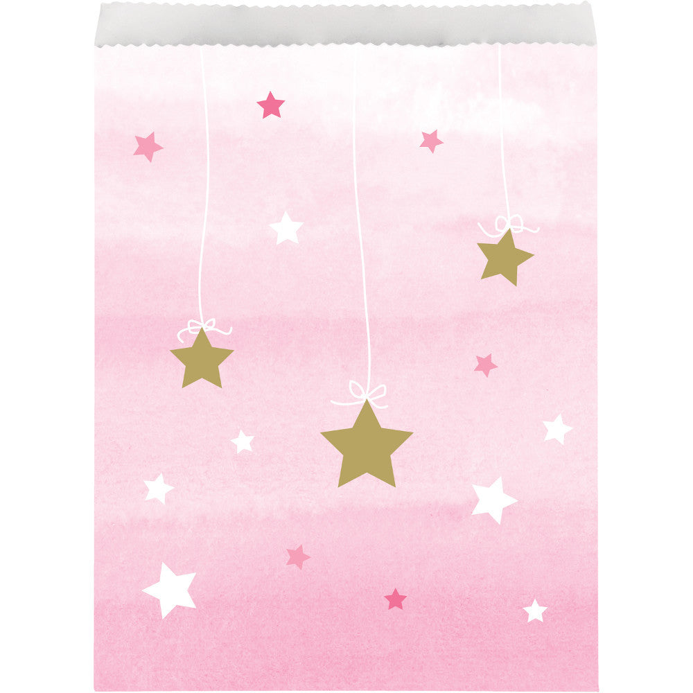 Twinkle Little Star Pink Paper Treat Bags,[product type] - Baby Showers and More