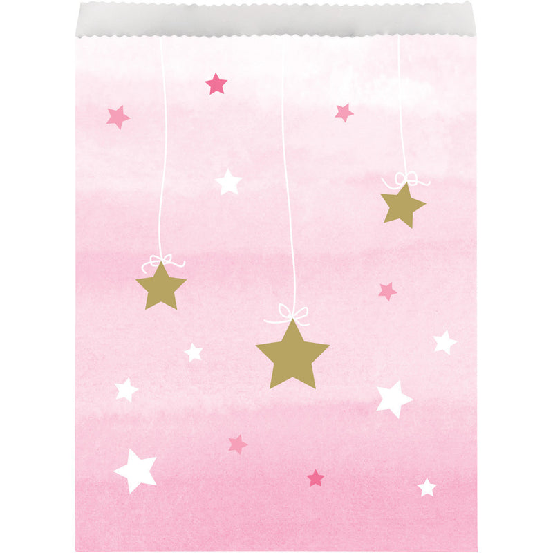 Twinkle Little Star Pink Paper Treat Bags - CLEARANCE - Uk Baby Shower Co ltd