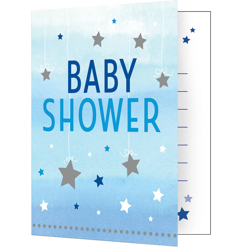 Twinkle Little Star Blue Invitations - CLEARANCE - Uk Baby Shower Co ltd