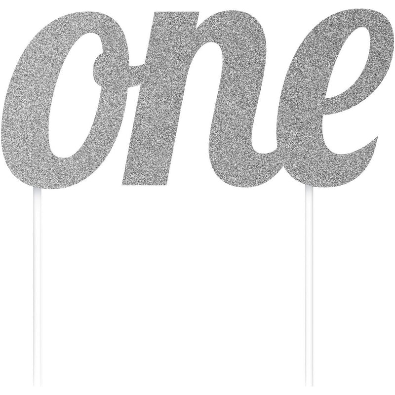 One Little Star ONE Silver Cake Topper,[product type] - Baby Showers and More