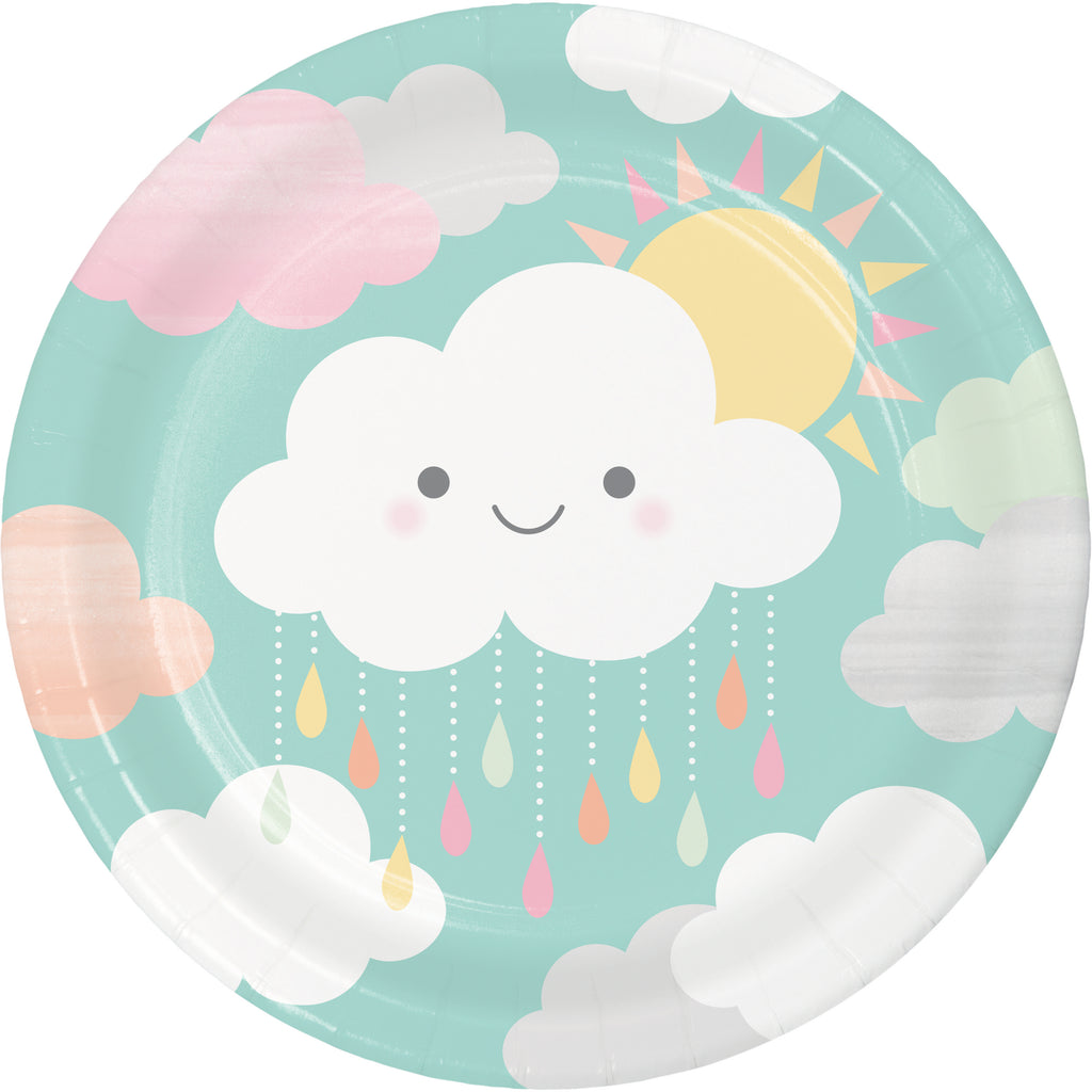 close up of baby shower plate with clouds and sun in pastel colours