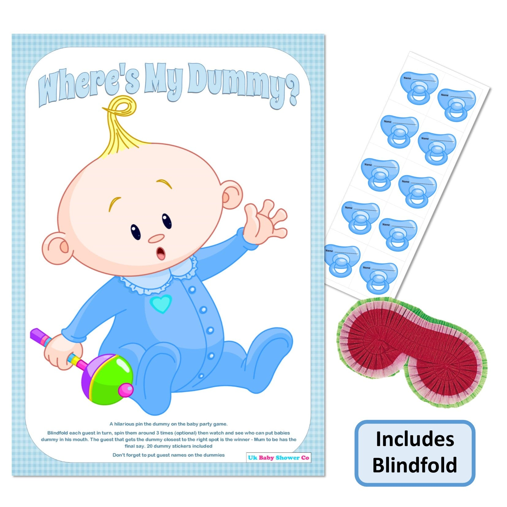 Uk Baby Shower Co: Pin The Dummy Game - Where's My Dummy!