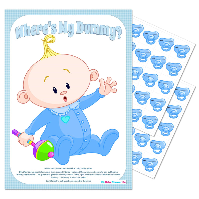 Pin the Dummy Game - Where's My Dummy - Uk Baby Shower Co ltd