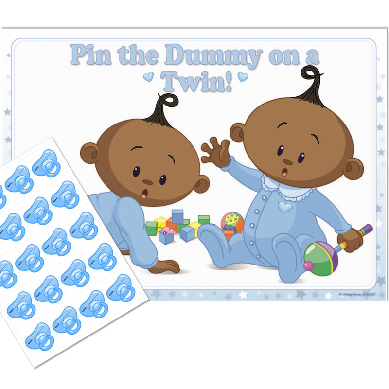 Stars Ethnic Pin the Dummy on a Twin Party Game,[product type] - Baby Showers and More