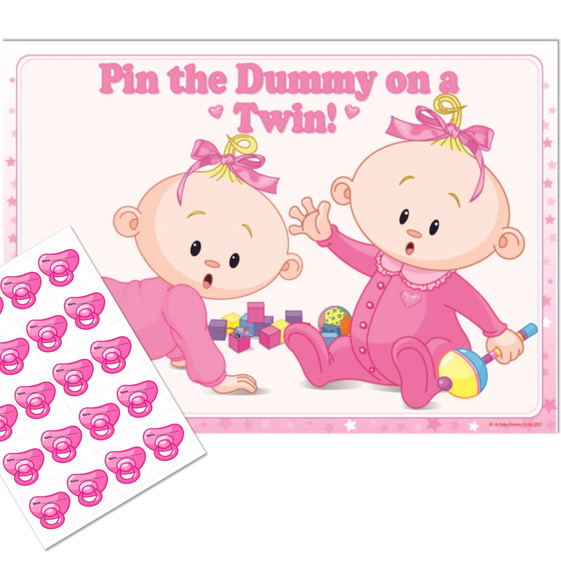Pin the Dummy on a Twin Party Game Stars Theme,[product type] - Baby Showers and More