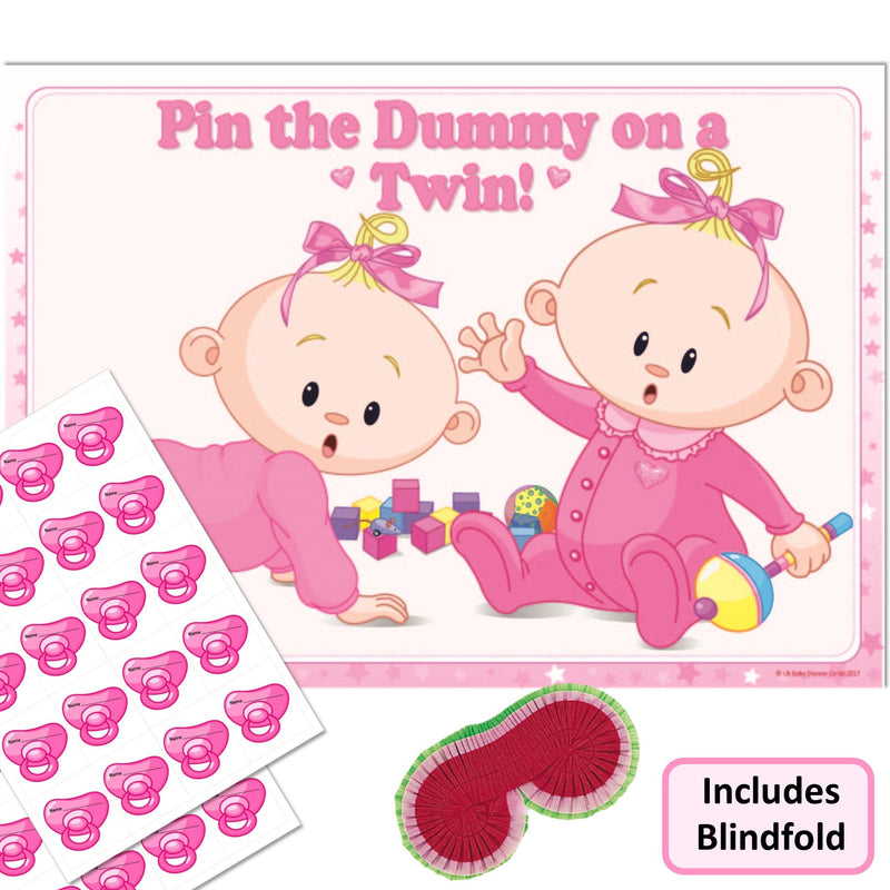 Pin the Dummy on a Twin Party Game - Uk Baby Shower Co ltd