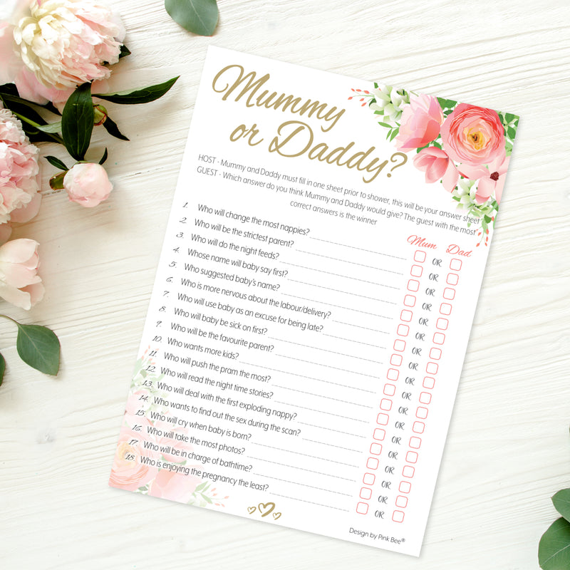 Pink Floral Mummy or Daddy Party Game