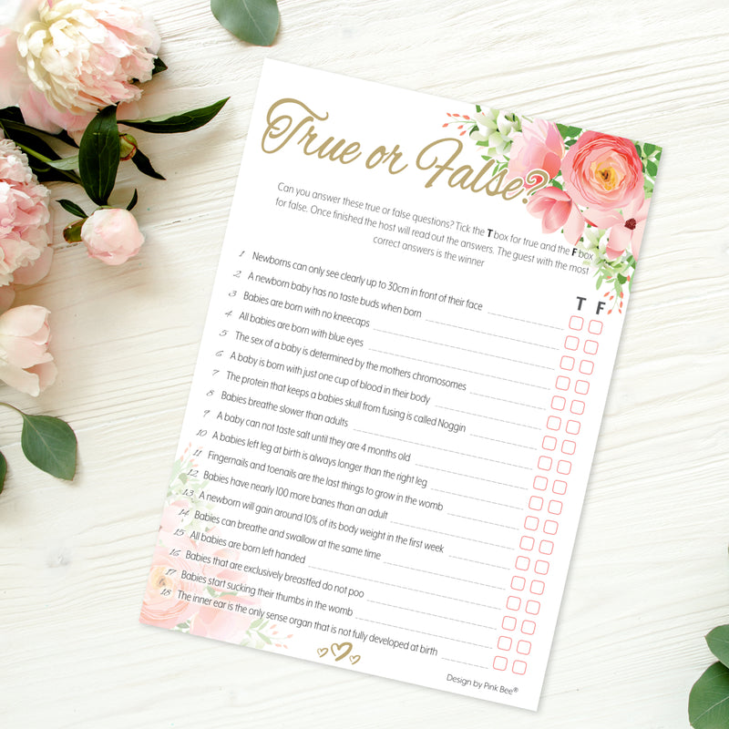 Pink Floral True or False Party Game