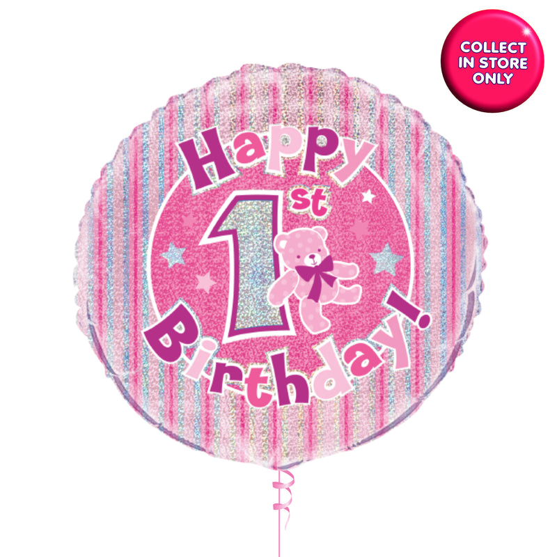 First Birthday Pink Holographic Helium Balloon INFLATED