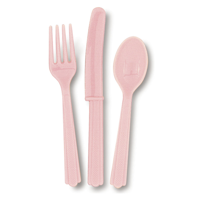 Pastel Pink Cutlery Pack 6 Guest - Uk Baby Shower Co ltd