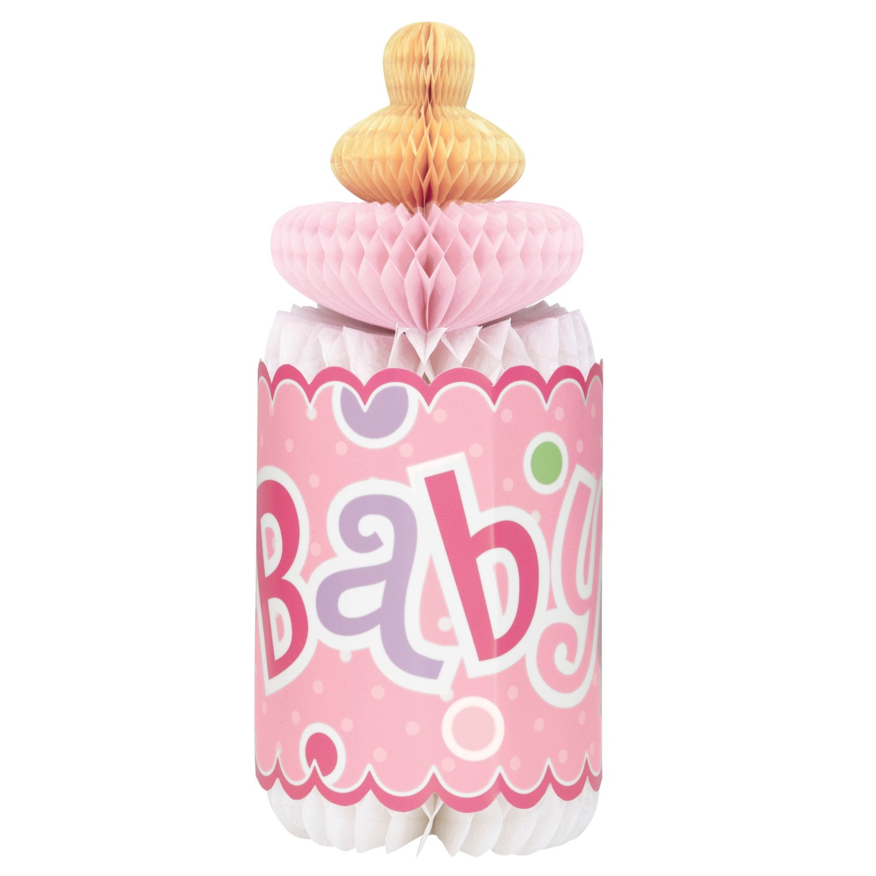 Pink Dotty Baby Honeycomb Bottle Decoration - Uk Baby Shower Co ltd