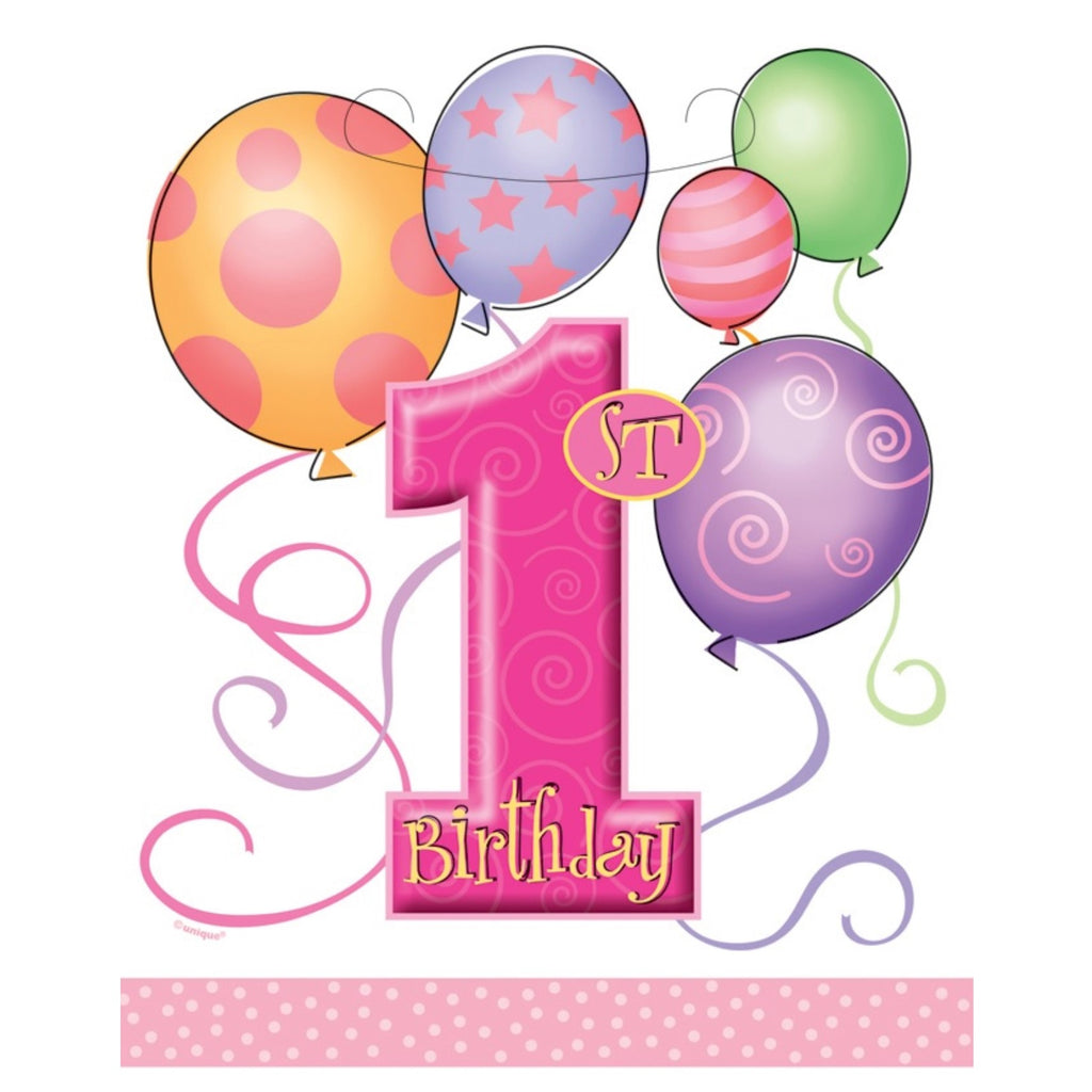 Pink Balloons 1st Birthday Party Bags