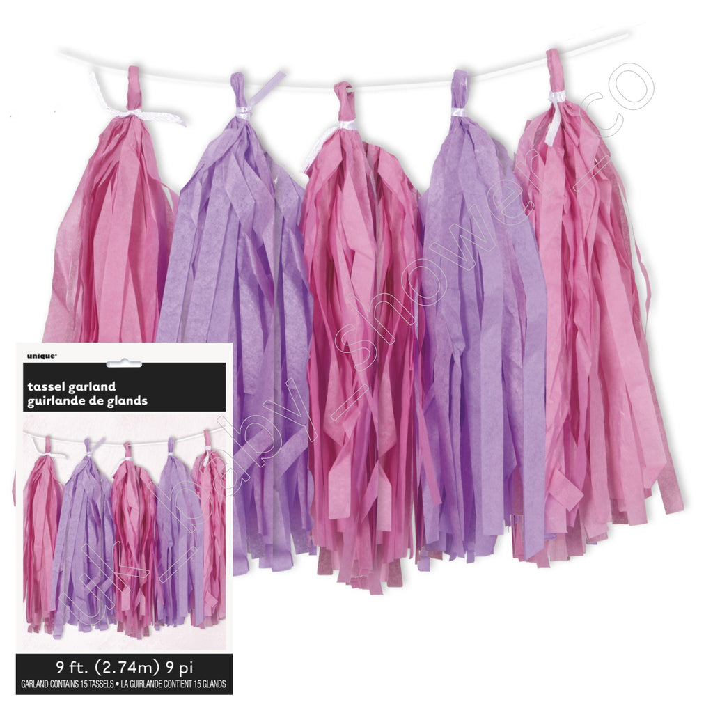 Pink Paper Tassel Garland - Uk Baby Shower Co ltd