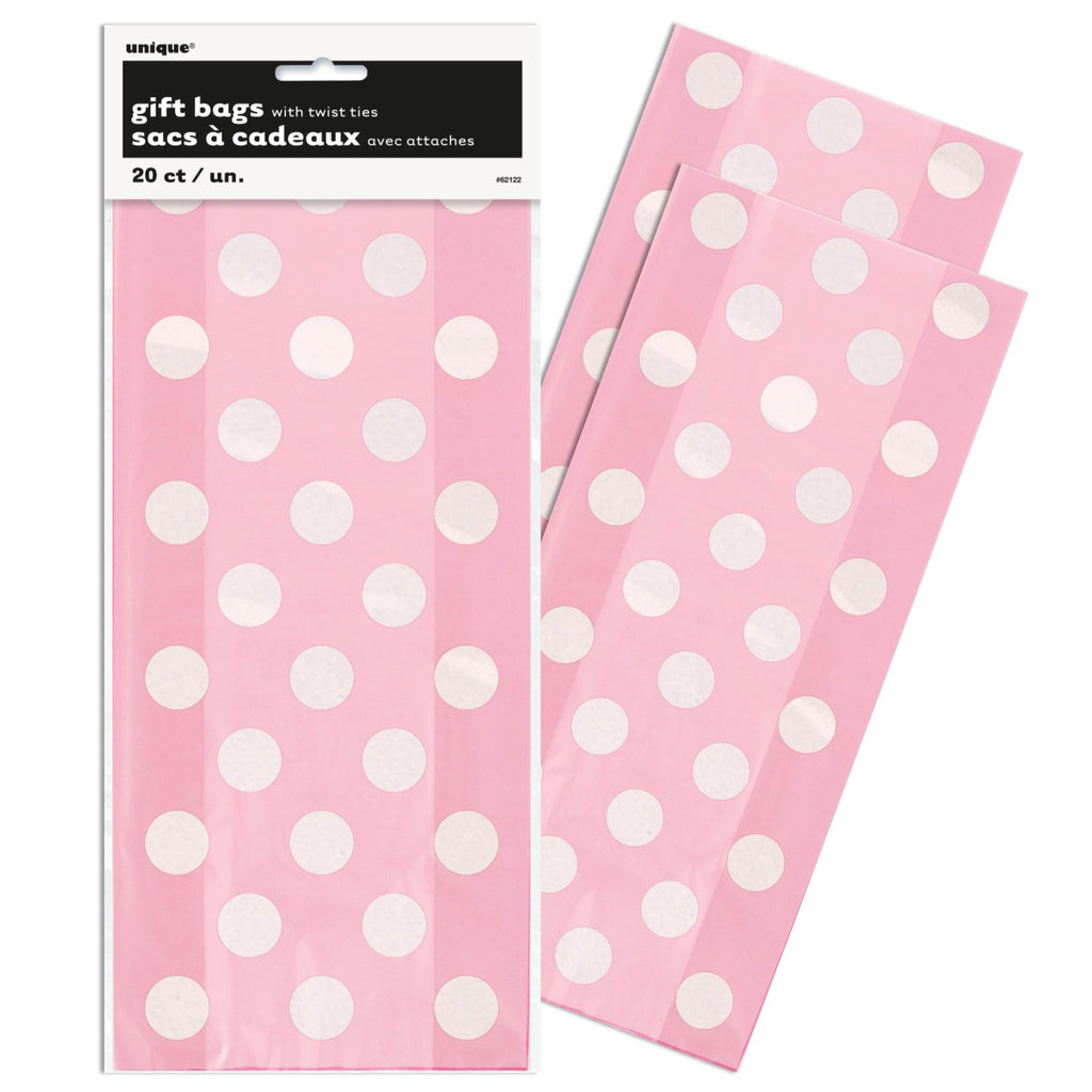 Pink Polka Dot Cello Party Bags,[product type] - Baby Showers and More