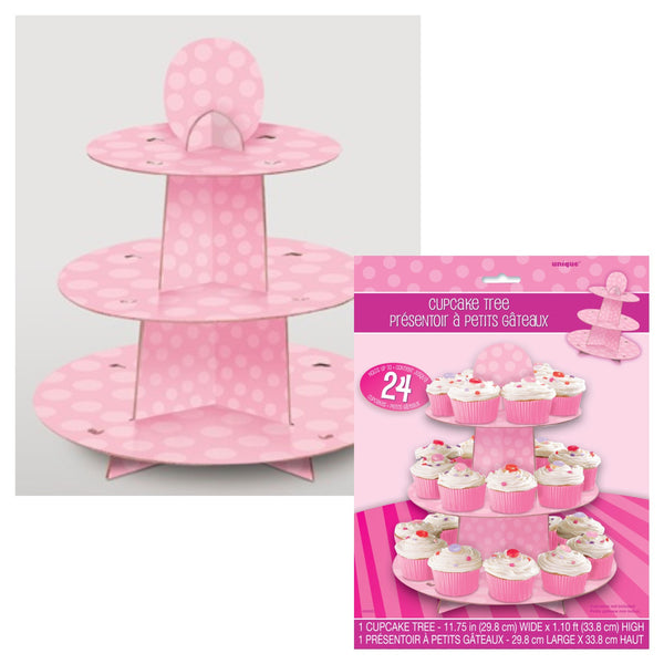 Uk Baby Shower Co: Pink Spotty Cupcake Stand