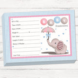 Baby Elephant Prediction Cards Keepsake Game - Uk Baby Shower Co ltd