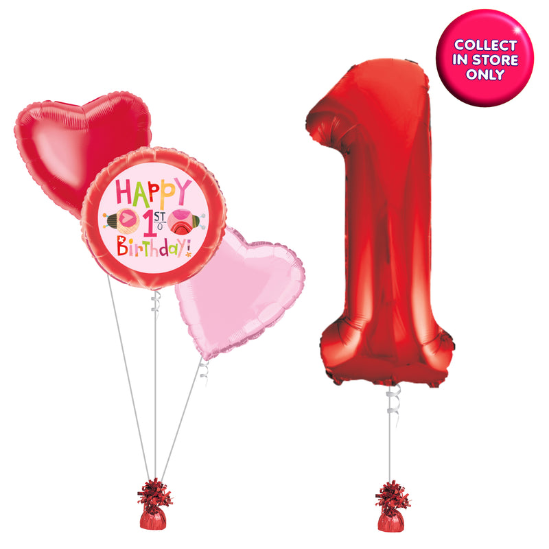 Inflated Red Number 1 Balloons for 1st Birthday