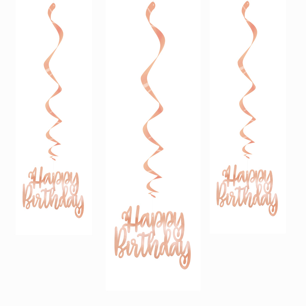 Rose Gold Happy Birthday Hanging Decorations