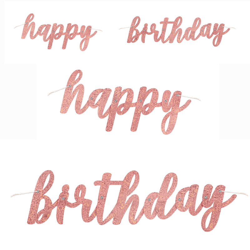 Rose Gold Happy Birthday Glitter Jointed Banner