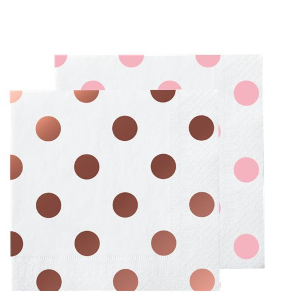 Rose Gold Foil Polka Dot Beverage Napkins - Uk Baby Shower Co ltd