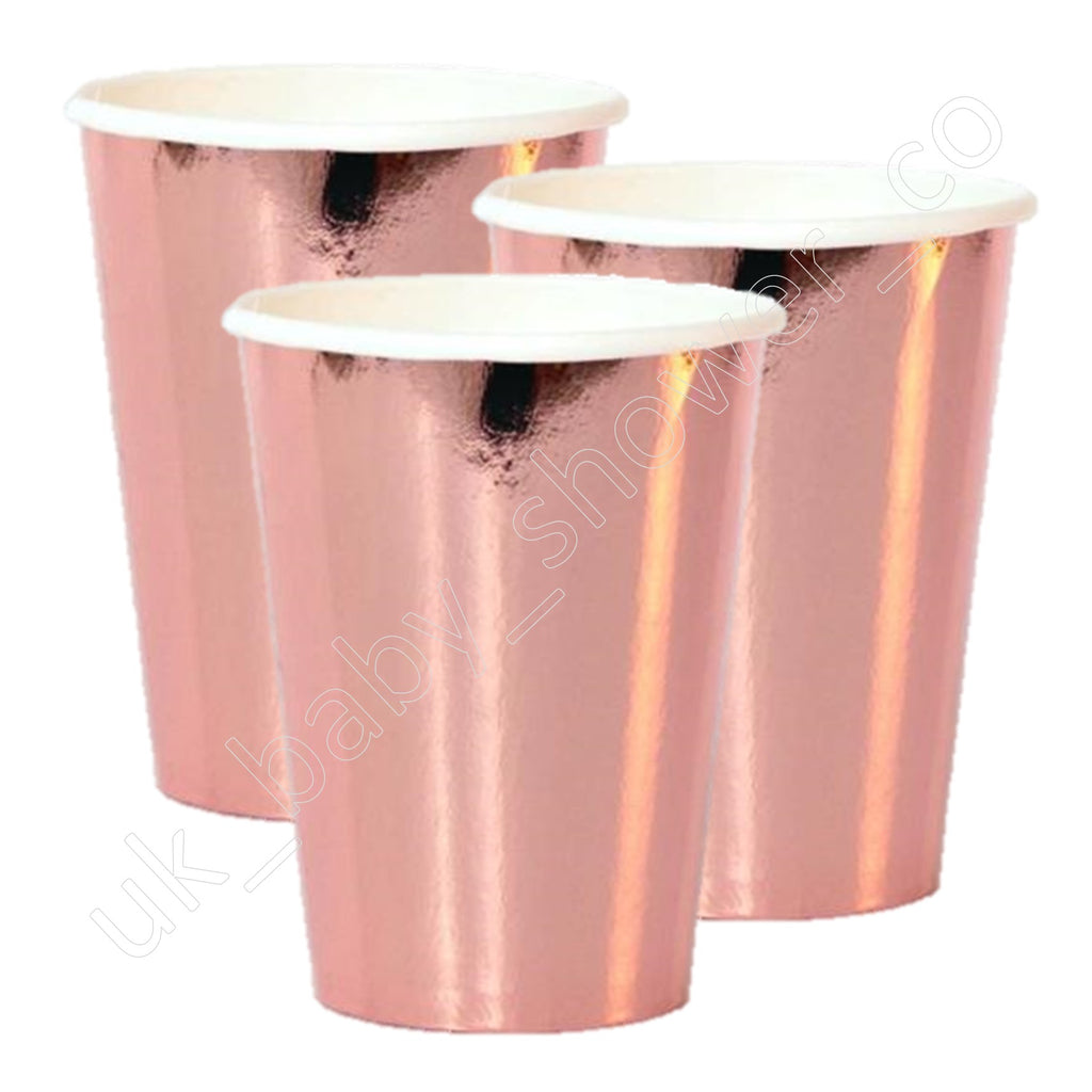Rose Gold Foil Effect Paper Cups