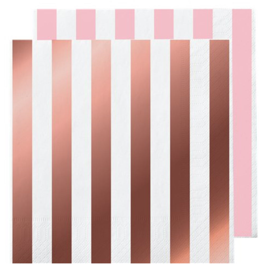 Rose Gold Foil Stripe Napkins - Uk Baby Shower Co ltd
