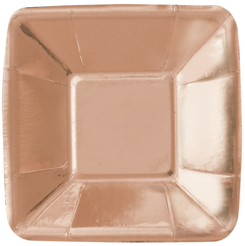 Rose Gold Foil Appetiser Plates Square - Uk Baby Shower Co ltd