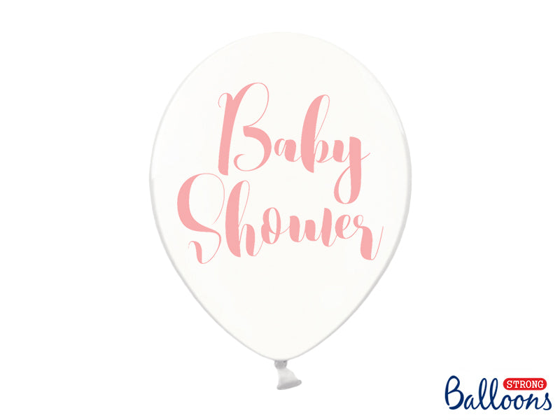 Baby Shower Crystal Clear Pink Typography Balloons