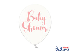 Baby Shower Crystal Clear Pink Typography Balloons (23) - Uk Baby Shower Co ltd