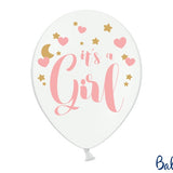 Baby Shower Pure White Its a Girl Balloons - Uk Baby Shower Co ltd