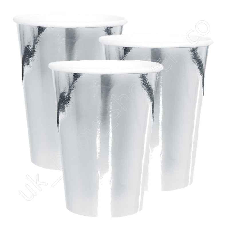 Silver Foil Paper Cups - Uk Baby Shower Co ltd
