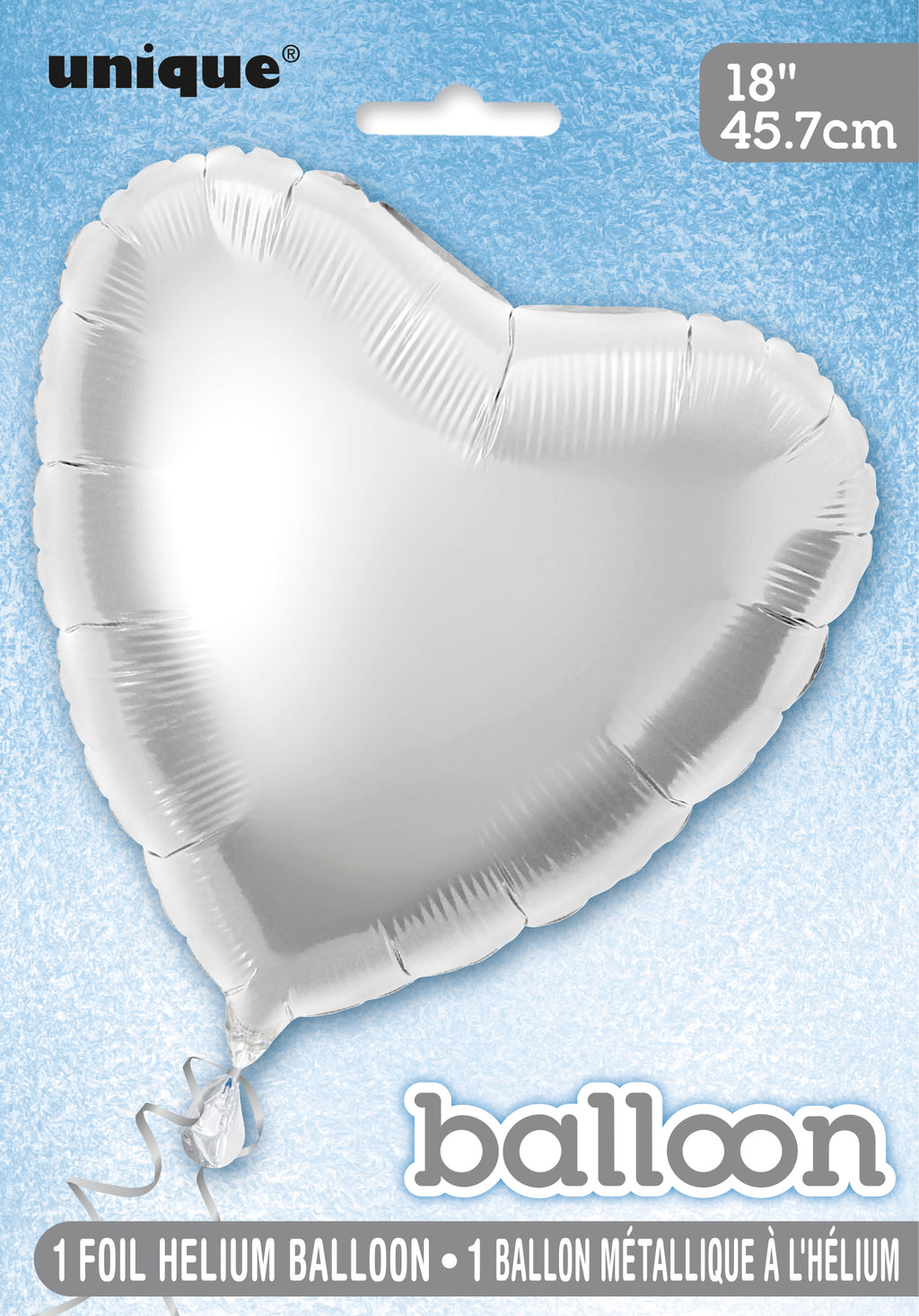 Silver Heart-Shaped Foil Balloon INFLATED