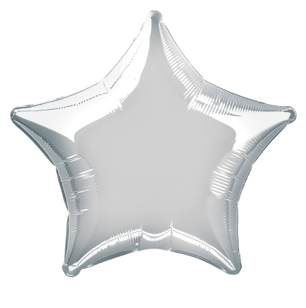 Silver Star Foil Balloon INFLATED