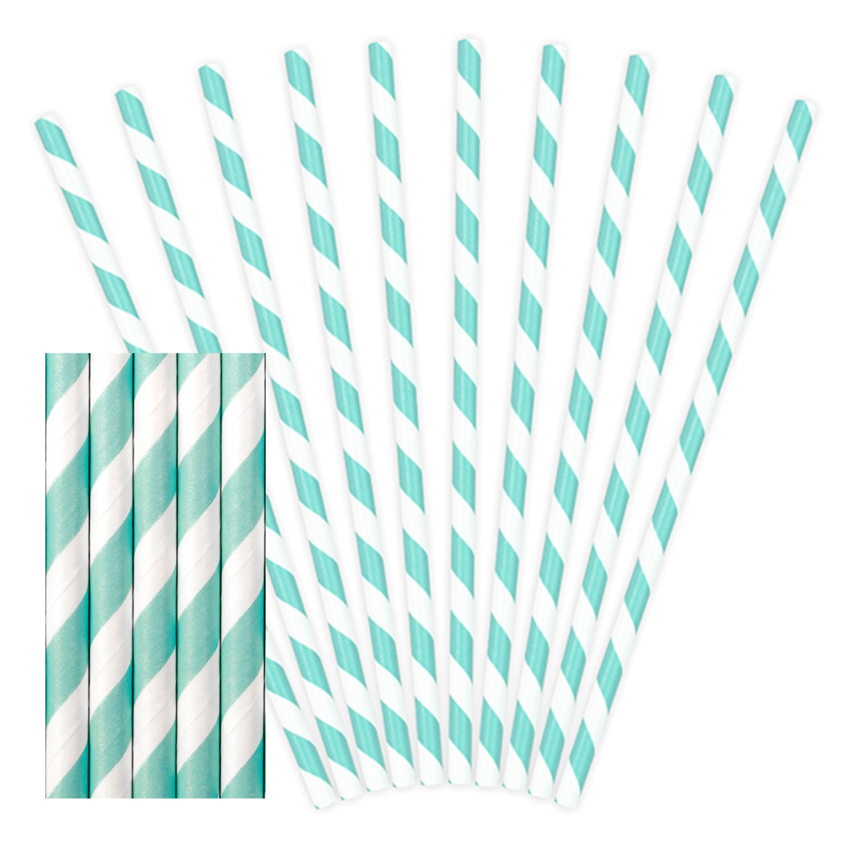 Sky Blue Paper Straws - Uk Baby Shower Co ltd
