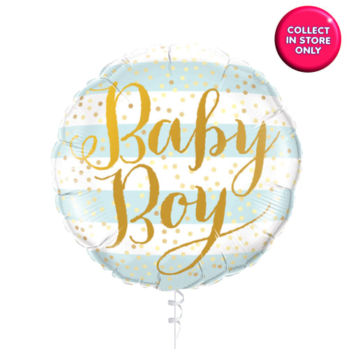 Baby Boy Stripey Balloons Helium Inflated