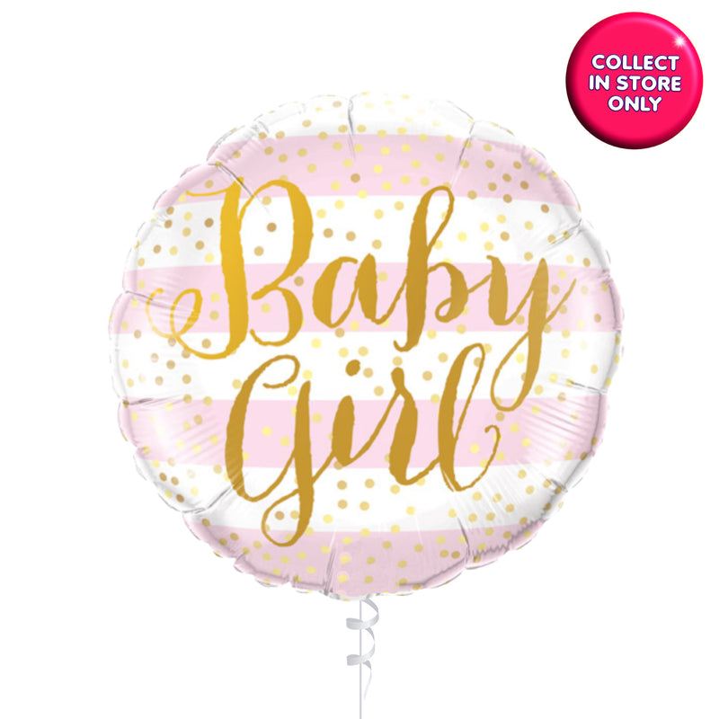 Baby Girl Stripey Balloons Helium Inflated