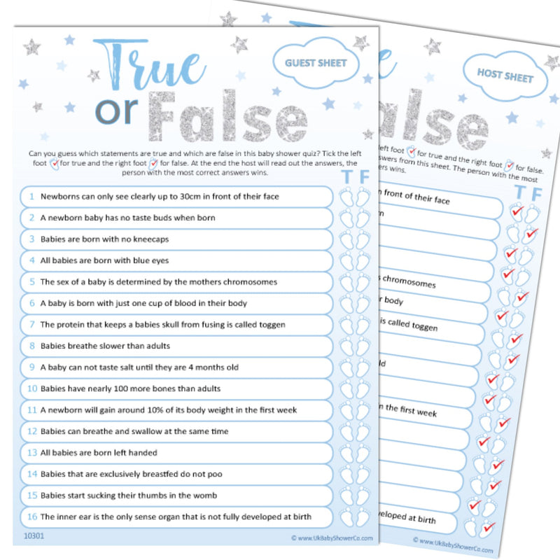 True or False Party Game - Uk Baby Shower Co ltd