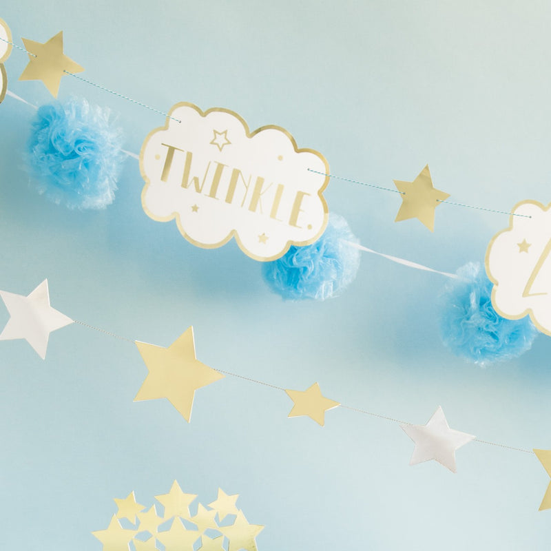 Luxury Tulle PomPom Garland White - Uk Baby Shower Co ltd