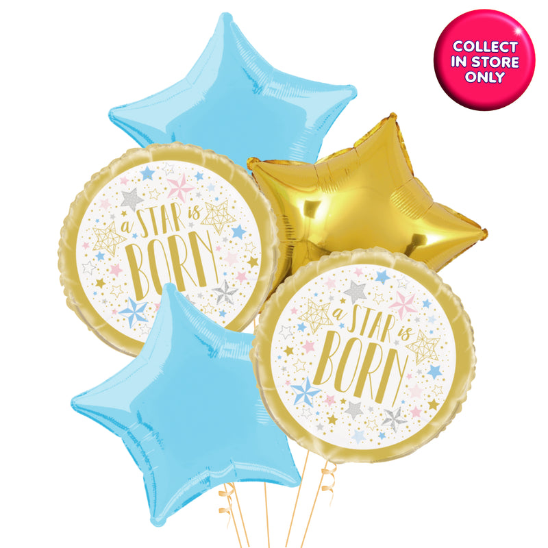 Twinkle Star Gold Balloons Helium Inflated (Blue Accent)