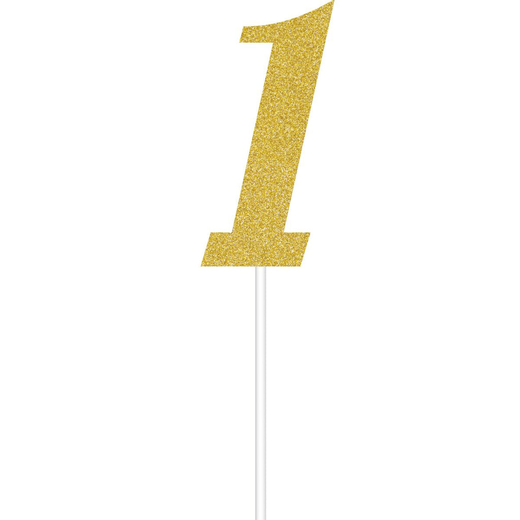 One Little Star Glitter number 1 Gold Cake Topper