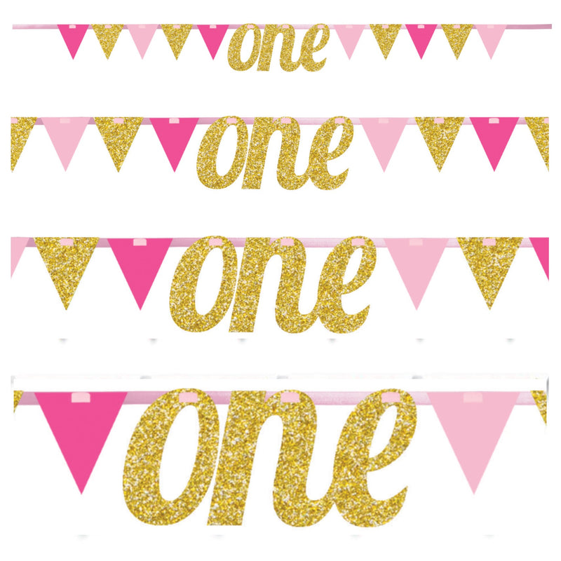 One Little Star Pink Pennant Banner,[product type] - Baby Showers and More