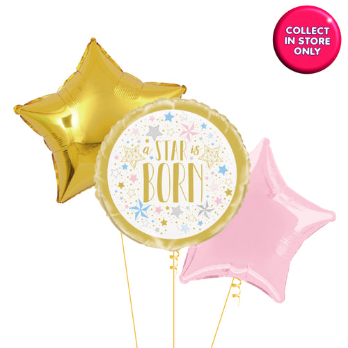 Twinkle Star Gold Balloons Helium Inflated (Pink Accent)